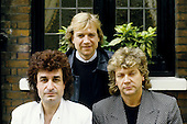 Moody Blues - L-R: Patrick Moraz, Justin Hayward, John Lodge - photographed exlcusively in London UK - 10 Jun 1986.  Photo credit:: George Chin/IconicPix