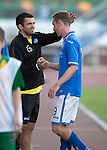 St Johnstone v FC Minsk...01.08.13 Europa League Qualifier at Neman Stadium, Grodno, Belarus...<br /> Callum Davidson gives Steven MacLean a pat on the head at full time<br /> Picture by Graeme Hart.<br /> Copyright Perthshire Picture Agency<br /> Tel: 01738 623350  Mobile: 07990 594431