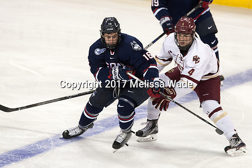 Karl El-Mir (UConn - 16), Michael Kim (BC - 4) - The Boston College Eagles defeated the visiting UConn Huskies 2-1 on Tuesday, January 24, 2017, at Kelley Rink in Conte Forum in Chestnut Hill, Massachusetts.