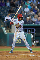Gilbert Lara (6) of the Hagerstown Suns at bat against the Greensboro Grasshoppers at First National Bank Field on April 6, 2019 in Greensboro, North Carolina. The Suns defeated the Grasshoppers 6-5. (Brian Westerholt/Four Seam Images)