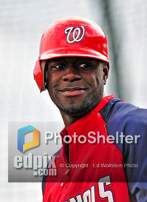 6 March 2009: Washington Nationals' outfielder Roger Bernadina prepares to take batting practice prior to a Spring Training game against the Baltimore Orioles at Fort Lauderdale Stadium in Fort Lauderdale, Florida. The Orioles defeated the Nationals 6-2 in the pre-season Grapefruit League matchup. Mandatory Photo Credit: Ed Wolfstein Photo