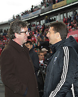 20 October 2012: Toronto FC head coach Paul Mariner  speaks with Montreal Impact head coach Jesse Marsch  during an MLS game between the Montreal Impact and Toronto FC at BMO Field in Toronto, Ontario..The game ended in a 0-0 draw..