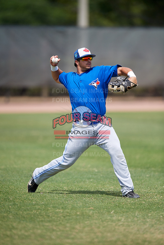 Toronto Blue Jays Brock Lundquist (20) during warmups before a Minor League Spring Training game against the Philadelphia Phillies on March 30, 2018 at Carpenter Complex in Clearwater, Florida.  (Mike Janes/Four Seam Images)