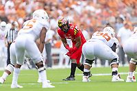 Landover, MD - September 1, 2018: Maryland Terrapins defensive back Antoine Brooks Jr. (25) looks down the line of scrimmage before the ball is snapped during game between Maryland and No. 23 ranked Texas at FedEx Field in Landover, MD. The Terrapins upset the Longhorns in back to back season openers with a 34-29 win. (Photo by Phillip Peters/Media Images International)