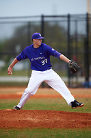 St. Thomas Tommies pitcher Ian Schwickert (39) delivers a pitch during a game against the Wisconsin-Whitewater Warhawks on March 27, 2016 at Lake Myrtle Park in Auburndale, Florida.  Wisconsin-Whitewater defeated St. Thomas 13-1.  (Mike Janes/Four Seam Images)