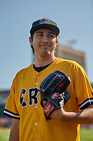 Erie SeaWolves pitcher Alex Faedo (29) poses for a photo before an Eastern League game against the Altoona Curve on June 3, 2019 at UPMC Park in Erie, Pennsylvania.  Altoona defeated Erie 9-8.  (Mike Janes/Four Seam Images)