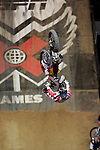 Robbie Maddison competes in the Moto X Best Trick competition during X-Games 12 in Los Angeles, California on August 4, 2006.