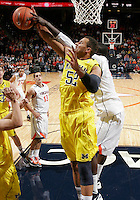 CHARLOTTESVILLE, VA- NOVEMBER 29: Jordan Morgan #52 of the Michigan Wolverines reaches for the rebound during the game on November 29, 2011 at the John Paul Jones Arena in Charlottesville, Virginia. Virginia defeated Michigan 70-58. (Photo by Andrew Shurtleff/Getty Images) *** Local Caption *** Jordan Morgan