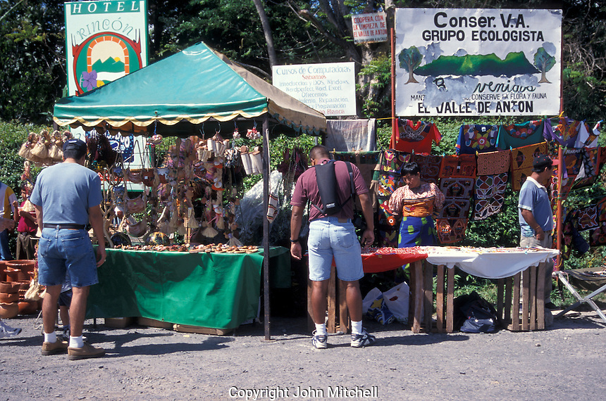 Vendirs stalls and shoppers at the Sunday handicrafts market in El Valle de Anton, Panama
