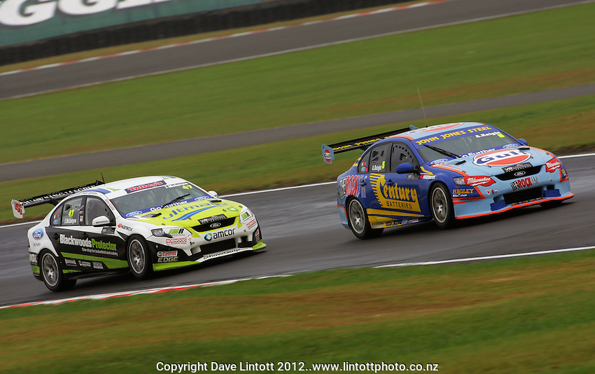 John McIntyre and Andy Knight in action during Round Three of the V8 Supertourers Sprint Races at Manfeild Autocourse, Feilding, New Zealand on Sunday, 29 April 2012. Photo: Dave Lintott / lintottphoto.co.nz