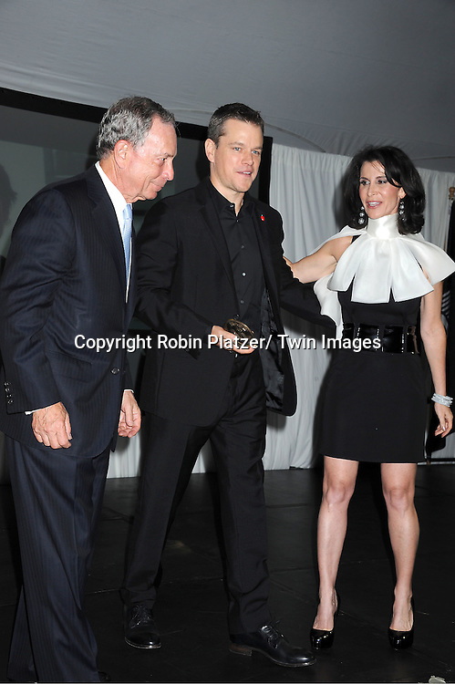 "Mayor Michael Bloomberg, Matt Damon and Katherine Oliver attending The ""Made in NY"" Awards at Gracie Mansion.on June 6, 2011. Matt Damon, John Leguizammo and Lauren Zalaznick and Sidney Lumet were the honorees."