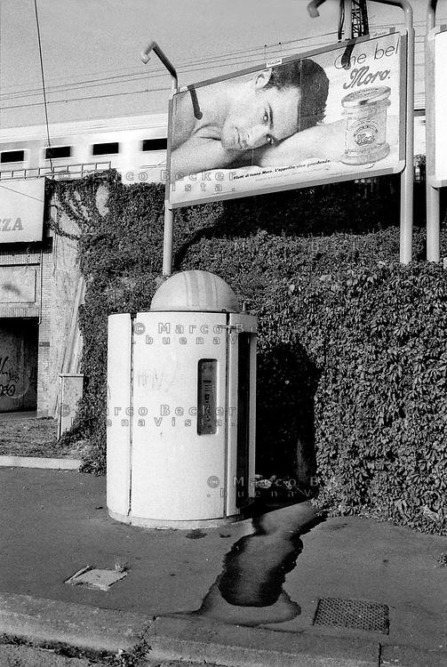 milano, piazza sire raul, quartiere lambrate, periferia nord-est. un bagno pubblico --- milan, sire raul square, lambrate district, north-east periphery. a public toilet