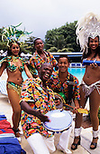 Rio de Janeiro, Brazil. Musicians and dancers entertain guests poolside at the Intercontinental Hotel.