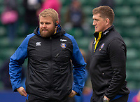 Bath Rugby's General Manager Stuart Hooper with Bath Rugby's Mark Lilley<br /> <br /> Photographer Bob Bradford/CameraSport<br /> <br /> Premiership Rugby Cup Round 1 - Bath Rugby v Harlequins - Saturday 27th October 2018 - The Recreation Ground - Bath<br /> <br /> World Copyright © 2018 CameraSport. All rights reserved. 43 Linden Ave. Countesthorpe. Leicester. England. LE8 5PG - Tel: +44 (0) 116 277 4147 - admin@camerasport.com - www.camerasport.com