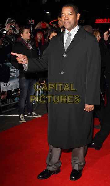Denzel Washington.At the UK Premiere of 'Flight', Empire cinema, Leicester Square, London, England, UK, January 17th 2013..full length hand finger pointing gesture trousers black coat grey gray tie white checked shirt .CAP/ROS.©Steve Ross/Capital Pictures