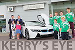 Paul and Pat Ahern launching the car of the future the BMW i8 with Georgie O'Callaghan and Castleisland AFC players when it arrived at Aherns BMW Castleisland on Friday