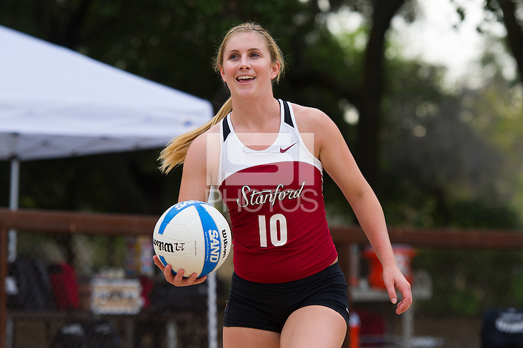 Stanford, CA, April 10, 2014<br /> Stanford Women's Sand Volleyball vs. St. Mary's at ACSR Sand Courts. Stanford lost 4-1.