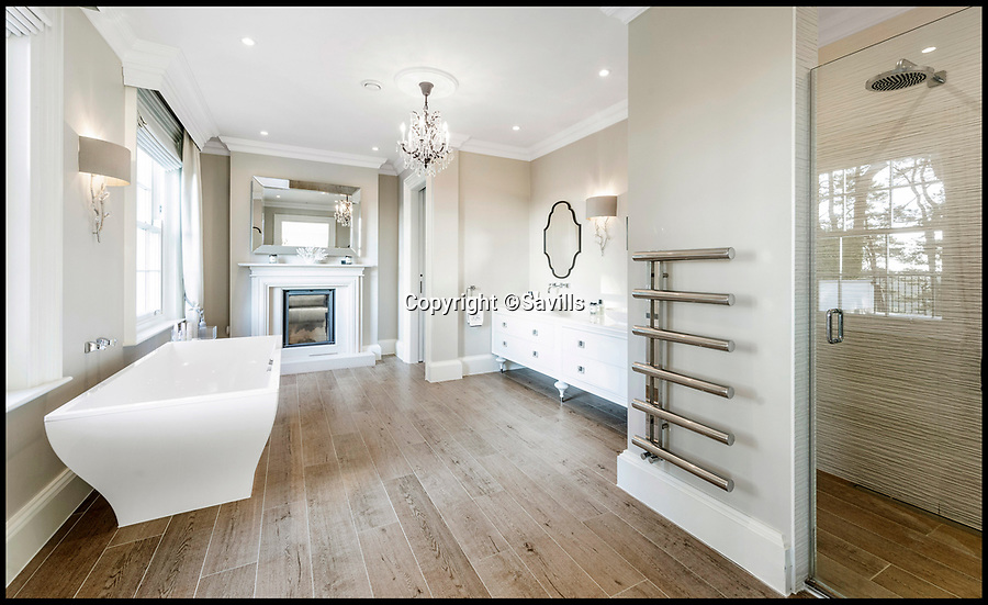 """BNPS.co.uk (01202 558833)<br /> Pic: Savills/BNPS<br /> <br /> Three-mendous!<br /> <br /> Huge bathroom.<br /> <br /> Stunning seaside estate overlooking Sandbanks that wouldn't look out of place in the Hollywood Hills - and you get three properties for your £9 million price tag.<br /> <br /> You get three luxury homes for the price of one with this spectacular private coastal estate - but they will still need deep pockets as the trio of properties are on the market for £8.995m.<br /> <br /> The Mulberry House Estate is in the leafy Canford Cliffs area of Poole, Dorset, and has a grand five-bedroom mansion, a second detached five-bedroom house and a two-bedroom gate house.<br /> <br /> Locals describe the Canford Cliffs area as the 'Hollywood Hills' of the coastal property hotspot, more refined and less showy than the more 'Malibu style' Sandbanks peninsula that it overlooks.<br /> <br /> Offering beautiful views but with privacy and seclusion, and without the tourist crowds that the Sandbanks millionaire's enclave attracts.<br /> <br /> Estate agent Savills say the sale is a """"unique opportunity"""" as the 2.2 acre Mulberry property is the only private estate in the area."""