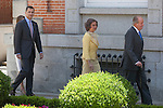 Spanish Royals King Juan Carlos of Spain (R), Queen Sofia of Spain (2R), Prince Felipe of Spain (L) and Princess Letizia of Spain receive Mexico´s President Enrique Pena Nieto and his wife Angelica Rivera at Zarzuela Palace in Madrid, Spain. June 09, 2013. (ALTERPHOTOS/Victor Blanco)