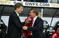 Pictured L-R: Swansea manager Michael Laudrup greets Liverpool manager Brendan Rodgers. Monday 16 September 2013<br /> Re: Barclay's Premier League, Swansea City FC v Liverpool at the Liberty Stadium, south Wales.