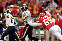 Chiefs defensive end Jared Allen applies pressure on San Diego Chargers quarterback Philip Rivers during the first half at Arrowhead Stadium  in Kansas City, MO on October 22, 2006. The Chiefs won 30-27.