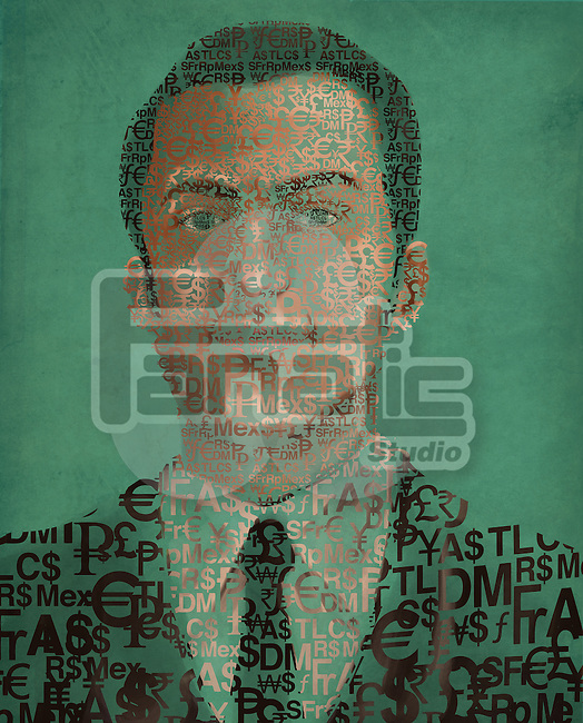 Illustration image of businessman made of currency symbols