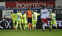KV KORTRIJK - AA GENT :<br /> spelers van AA Gent vieren hun openingsgoal<br /> <br /> Foto VDB / Bart Vandenbroucke