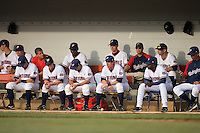 The Potomac Nationals dugout at Pfitzner Stadium June 11, 2009 in Woodbridge, Virginia. (Photo by Brian Westerholt / Four Seam Images)