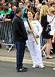 Daley Thompson and jodie evans  torchbearer at the Olympic Torch Relay at MINI Plant Oxford on Monday 9th July 2012  Picture By: Brian Jordan / Retna Pictures.. ..-..