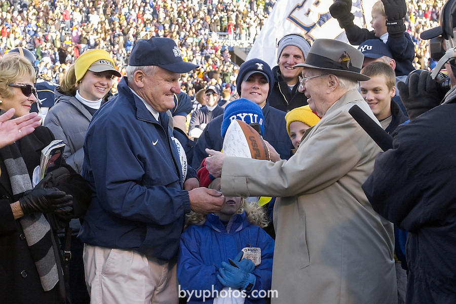 FTB 2311-5509<br /> <br /> November 18, 2000<br /> <br /> BYU vs. New Mexico<br /> <br /> Renaming of Cougar Stadium to LaVell Edwards Stadium with President Bateman and President Hinckley<br /> <br /> Photo by: Mark Philbrick/BYU<br /> <br /> Copyright BYU PHOTO 2008<br /> All Rights Reserved<br /> 801-422-7322<br /> photo@byu.edu