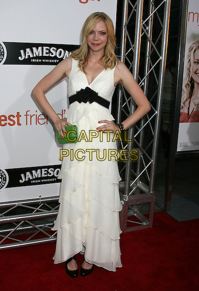 "RIKI LINDHOME .""My Best Friend's Girl"" World Premiere held at the Arclight Hollywood, Hollywood, California, USA..September 15th, 2008.full length white dress layers layered hands on hips black belt ruffled ruffles.CAP/ADM/MJ.©Michael Jade/AdMedia/Capital Pictures."