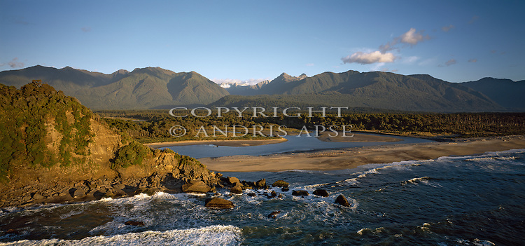 Aerial of Jacobs River mouth. ( Makawhio River ) Westland Region. New Zealand.