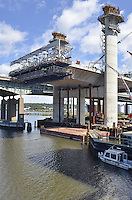 Pearl Harbor Memorial Bridge, New Haven Harbor Crossing Corridor, Interstate 95 in CT. Construction of Connecticut Department of Transportation Contract B as seen on September 9, 2011. New Northbound Span, Progress of the Replacement Bridge. When complete this will be the first Extradosed Bridge in the United States. This view includes Traveling Formwork and East Towers.