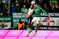 19th November 2019, Frankfurt, Germany; 2020 European Championships qualification, Germany versus Northern Ireland; Jonathan Tah (Ger) challenges Josh Magennis (NIrl)