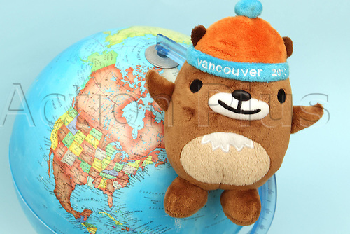05 01 2010  Olympia Preview. The Olympic Winter Games 2010 in Vancouver Picture shows the Mascot Mukmuk with a Globe .