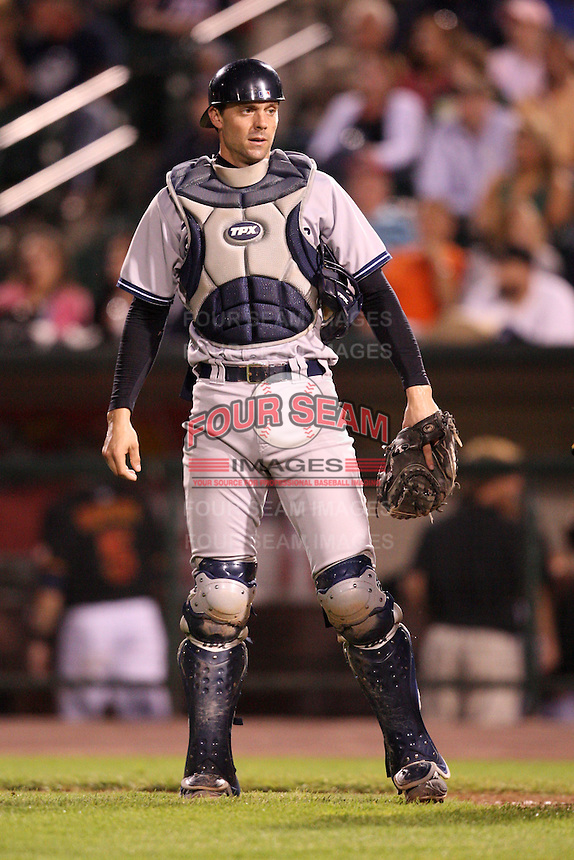 September 4, 2009:  Catcher Chris Stewart of the Scranton Wilkes-Barre Yankees during a game at Frontier Field in Rochester, NY.  Scranton is the Triple-A International League affiliate of the New York Yankees and clinched the North Division Title with a victory over Rochester.  Photo By Mike Janes/Four Seam Images