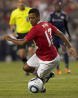 Manchester United FC midfielder Nani (17) adjusts to control the ball. In a Herbalife World Football Challenge 2011 friendly match, Manchester United FC defeated the New England Revolution, 4-1, at Gillette Stadium on July 13, 2011.