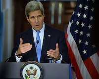 Washington, DC - October 8, 2014: U.S. Secretary of State John Kerry discusses the U.S. and U.K. response to ISIL and Ebola during a joint press availability with U.K. Foreign Secretary Philip Hammond in the Treaty Room at the Department of State, October 8, 2014.   (Photo by Don Baxter/Media Images International)