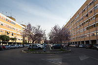 Rome, 10/03/2020. Rome's Olympic Village district under the Italian Government lockdown for the Outbreak of the Coronavirus SARS-CoV-2 - COVID-19. On the 22nd March, the Italian PM Giuseppe Conte signed a new Decree Law which suspends non-essential industry productions and contains the list of allowed working activities, which includes Pharmaceutical & food Industry, oil & gas extraction, clothes & fabric, tobacco, transports, postal & banking services (timetables & number of agencies reduced), delivery, security, hotels, communication & info services, architecture & engineer, IT manufacturers & shops, call centers, domestic personnel (1.).<br />