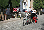Tourist horse and carriage ride around the old city of Ronda, Spain