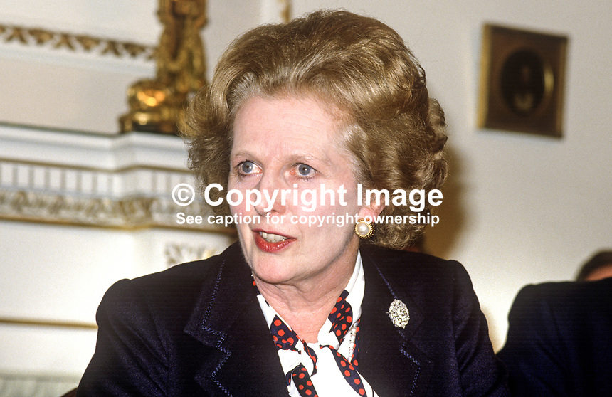 UK Prime Minister Margaret Thatcher, at signing of Anglo-Irish Agreement, Hillsborough Castle, N Ireland, 198511106MT3.<br />