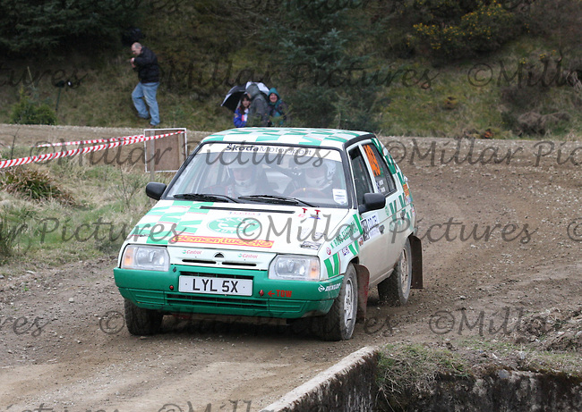 John Martin / Craig John Martin in a Skoda Favorit  at Junction 3 on John Lawrie Group Special Stage 5 Fettersso 2 of the Coltel Granite City Rally 2012 which was based at the Thainstone Agricultural Centre, Inverurie.