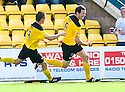KENNY DEUCHAR CELEBRATES AFTER HE SCORES LIVINGSTON'S THIRD