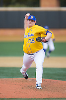 Delaware Blue Hens relief pitcher John Geffre (35) in action against the Georgetown Hoyas at Wake Forest Baseball Park on February 13, 2015 in Winston-Salem, North Carolina.  The Blue Hens defeated the Hoyas 3-0.  (Brian Westerholt/Four Seam Images)