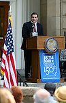 Caleb Cage, director of Military & Veterans Programs, speaks at the USS Nevada Centennial of Launch ceremony at the Capitol, in Carson City, Nev., on Friday, July 11, 2014.<br /> Photo by Cathleen Allison