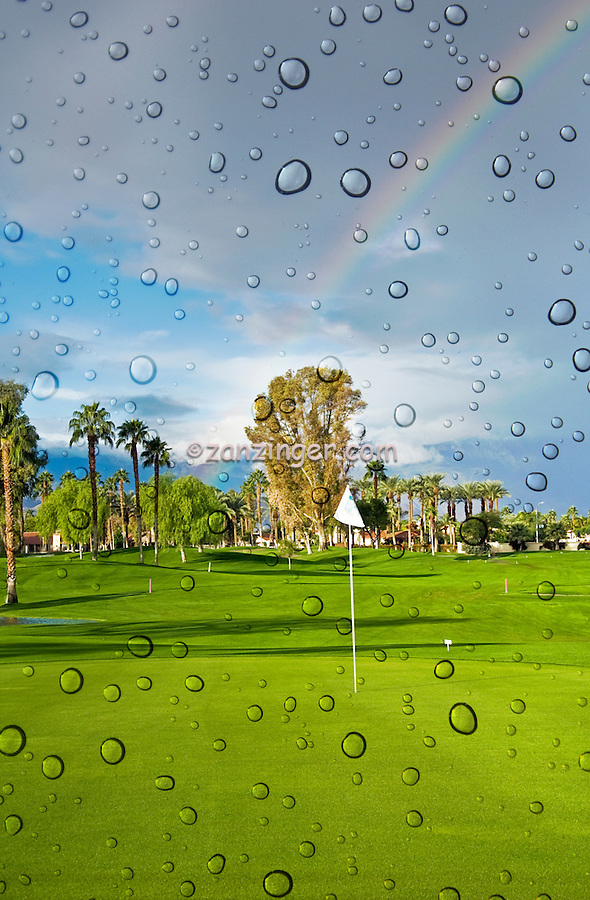 Golf Course, Lucky Rainbow, Rain Drops, Green, White Flag, Flagstick, rolling fairways, Palm Trees,  beautiful