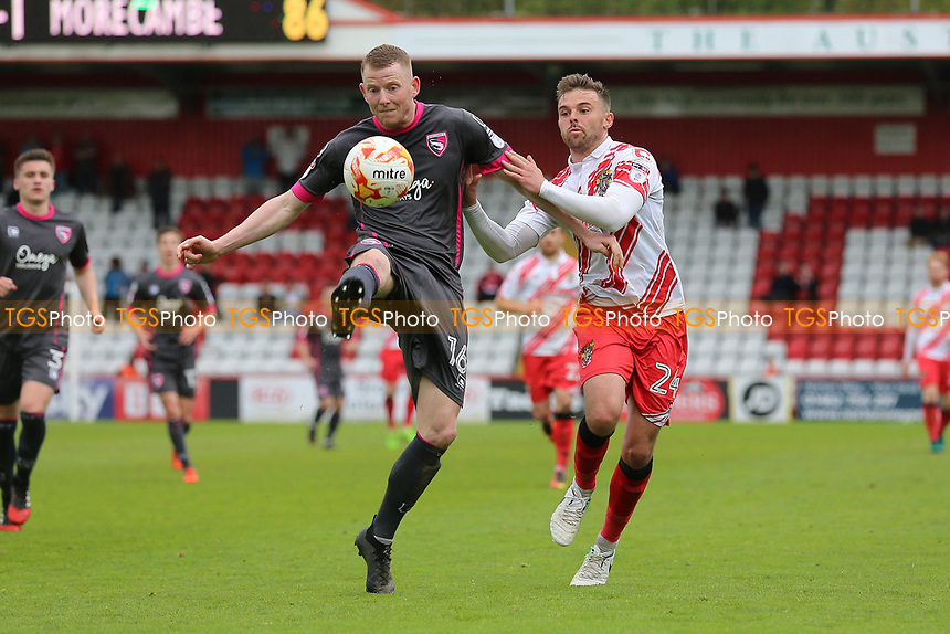 Alex Whitmore of Morecambe and Matthew Godden of Stevenage during Stevenage vs Morecambe, Sky Bet EFL League 2 Football at the Lamex Stadium on 14th April 2017