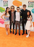 LOS ANGELES, CA - MARCH 31: Ashley Argota, Dillon Lane, Taylor Gray, Glenn McCuen and Tiffany Espensen arrive at the 2012 Nickelodeon Kids' Choice Awards at Galen Center on March 31, 2012 in Los Angeles, California.