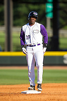 Keon Barnum (20) of the Winston-Salem Dash stands on second base after hitting a double against the Salem Red Sox at BB&T Ballpark on April 20, 2014 in Winston-Salem, North Carolina.  The Dash defeated the Red Sox 10-8.  (Brian Westerholt/Four Seam Images)