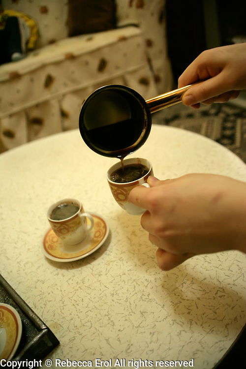 Making Turkish coffee at home, Istanbul, Turkey